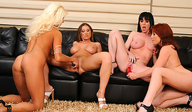 A couple of hot abused babes are poking the nipp holes of their dirty fuckers